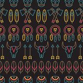 stock photo of dreamcatcher  - Tribal vector outline style seamless pattern on dark background colorful wrapping paper with animal skull 