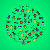 pic of mandible  - color bugs and beetles icons in circle eps10 - JPG