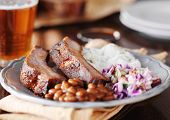 picture of spare  - barbecued spare ribs with coleslaw - JPG