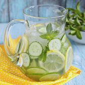 picture of pitcher  - Fruit water with lemon, lime, cucumber and mint in glass pitcher