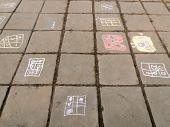 stock photo of slab  - Chalk children - JPG