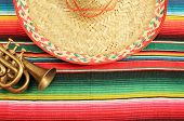 Постер, плакат: Mexico poncho sombrero background