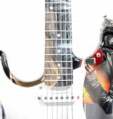 image of guitar  - guitar player with an open guitar case guitar silhouette in double exposure - JPG