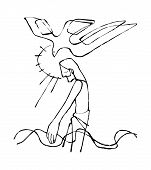 foto of baptism  - Hand drawn vector illustration or drawing of Jesus Christ at His Baptism - JPG