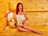 stock photo of sauna  - Young slim woman in sauna - JPG