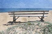 image of martha  - Bench on a beach on Martha - JPG