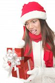 Christmas Gift Woman Unhappy Opening Present