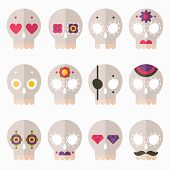 picture of sugar skulls  - Flat design style skull icon vector set cute skulls for Day of the Dead or for Halloween - JPG