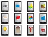 pic of handphone  - Collection of vector illustration of wireless smart mobile phone with business icons displayed on screen isolated on white - JPG