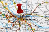 stock photo of serbia  - map with pin point og beograd in serbia - JPG