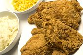 picture of fried chicken  - fried chicken with mashed potatoes and corn niblets - JPG