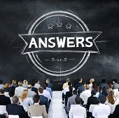stock photo of suggestive  - Answers Explanation Question Opinion Suggestion Concept - JPG