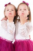image of goodbye  - Cute little girls sends kiss goodbye - JPG