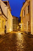 picture of cobblestone  - Tallinn Old Town street with cobblestones in night - JPG
