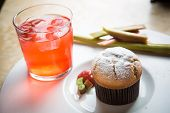 foto of ginger bread  - Rhubarb and ginger muffins on white plate - JPG