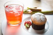 image of ginger bread  - Rhubarb and ginger muffins on white plate - JPG