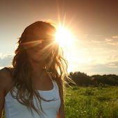 sun in woman hair