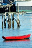 image of cape-cod  - Red boat floating at rest on cape cod
