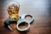 Whiskey with car keys and handcuffs concept for drinking and driving poster