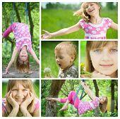 Happy Kids having fun outdoor Collage