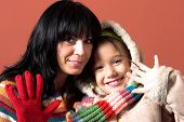 stock photo of waving hands  - details a mother and daughter waving hands - JPG
