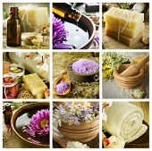 stock photo of sea salt  - Spa Collage - JPG