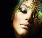 foto of female peacock  - Beautiful Fashion Woman Face - JPG
