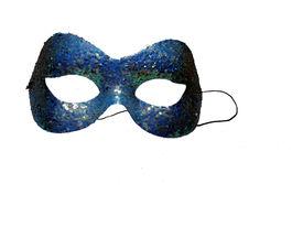 stock photo of mardi-gras  - mardi gras mask in dark blue on a white background - JPG