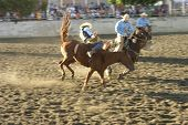foto of bucking bronco  - a rider falls from a bucking horse.   this photo depicts action. visible motion - JPG