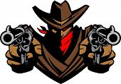 stock photo of raider  - Graphic Mascot Image of a Cowboy Shooting Pistols - JPG