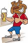 Homem de Bulldog com copo de cerveja