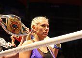 vor dem Kampf. der Weltmeister auf Boxen Natasha Ragozina (Russland)