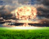 stock photo of nuke  - Nuclear explosion in an outdoor setting - JPG
