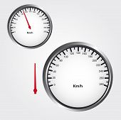 stock photo of over counter  - gray white and black Speedometer over gray background - JPG