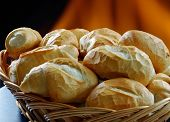 Basket of French bread, traditional Brazilian bread poster
