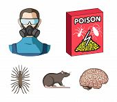 Staff, Packing With Poison And Pests Cartoon Icons In Set Collection For Design.pest Control Service poster