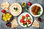 Middle Eastern Traditional Dinner. Authentic Arab Cuisine. Meze Party Food. Top View, Flat Lay, Over poster