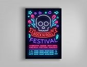 Rock Festival Poster In Neon Style. Neon Sign, An Invitation To The Concert Brochure On Roknrol Musi poster