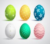 Easter Eggs Vector Set With Colors And Patterns. Colorful Eggs Isolated In White Background For East poster