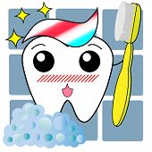 Cartoon Anime Kawaii Cute Tooth Brushing Himself With A Toothbrush poster