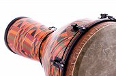 pic of congas  - An orange African or Latin Djembe conga drum isolated on white background in the horizontal format with copy space - JPG