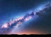 Space Background With Amazing Milky Way And Stars poster