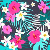Vector Seamless Tropical Pattern, Vivid Tropic Foliage, With Monstera Leaf, Palm Leaves, Plumeria Fl poster