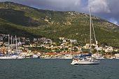 Vathi bay at Ithaki island in Greece