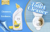 Vector Poster Of Toilet Cleaner Ads, Before And After Effect Of Detergent, Top View Of Bowl In 3d Il poster