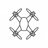 Drone Icon In Outline Style. Drone Object Pictogram Graphic For Web Design. Outline New Technology V poster