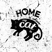 Cute Kids T-shirt Print For Girls And Boys. Monochrome Vintage Cat On The Scratched Background Creat poster