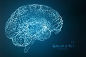 Vector Blue Illustration Of 3d Brain Side With Synapses And Glowing Neurons. Conceptual Image Of Ide poster