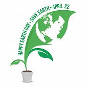 Happy Earth Day Logo Design.save Earth Logo.earth Map In The Inside Of Leafs, Isolated On A White Gr poster