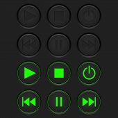 Media Buttons - Inactive Black Buttons And Active Green Buttons. Vector 3d Illustration poster